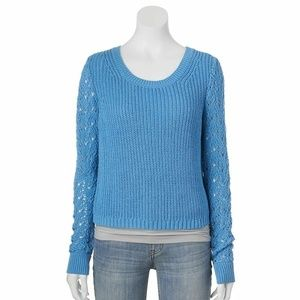 Lauren Conrad Crochet Long Sleeve Cropped Sweater